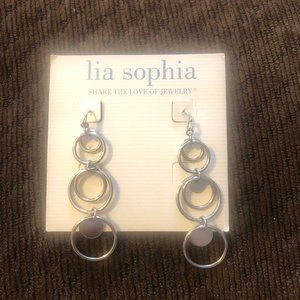"Lia Sophia ""Panorama"" silver tone circle earrings"